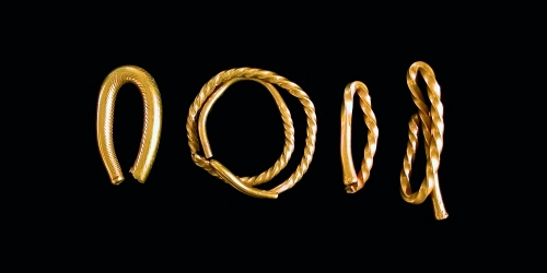 Middle bronze age gold torcs from the river Medway at Aylesford kcc copyright