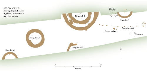 Monkton barrow cemetery showing ring-ditches and other features
